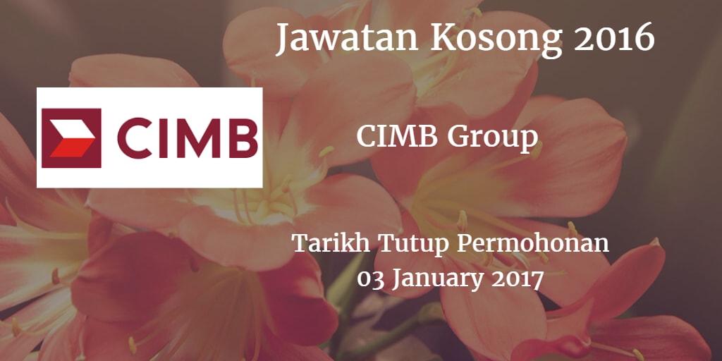 Jawatan Kosong CIMB Group 03 January 2017