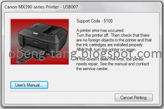 Printer Canon MX397 Support Code 5100