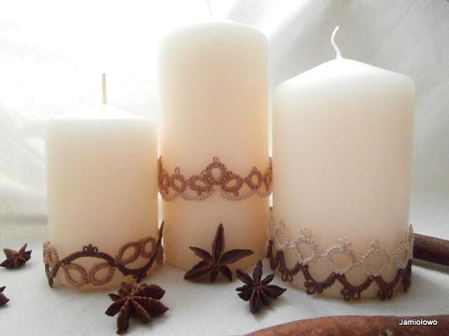 ozdobne opaski na świece wykonane na czółenkach