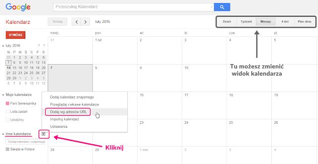 Jak dodać inny kalendarz w Google Calendar 1