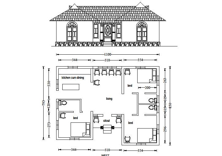 920 square feet 3 bedroom attached low budget home plan for Low cost per square foot house plans