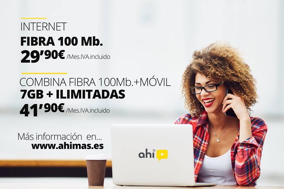 Ahí+ promociona su fibra 100 Mb