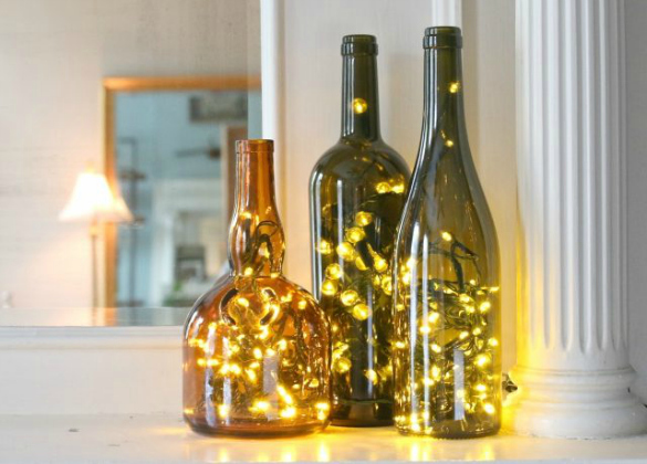 Christmas Lights in a Wine Bottle