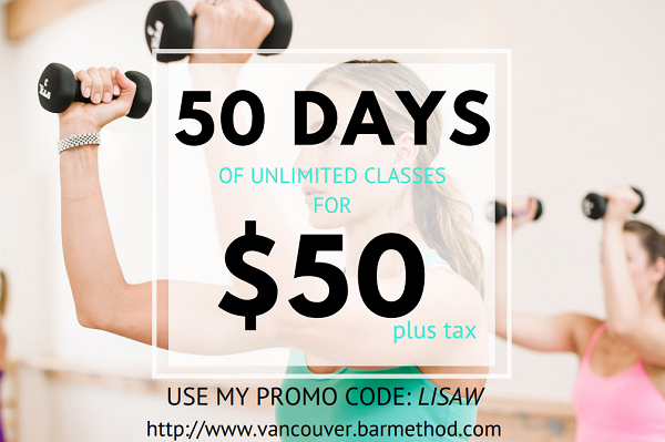 Get 50 days of Bar Method Vancouver classes for $50 if you use the code lisaw.