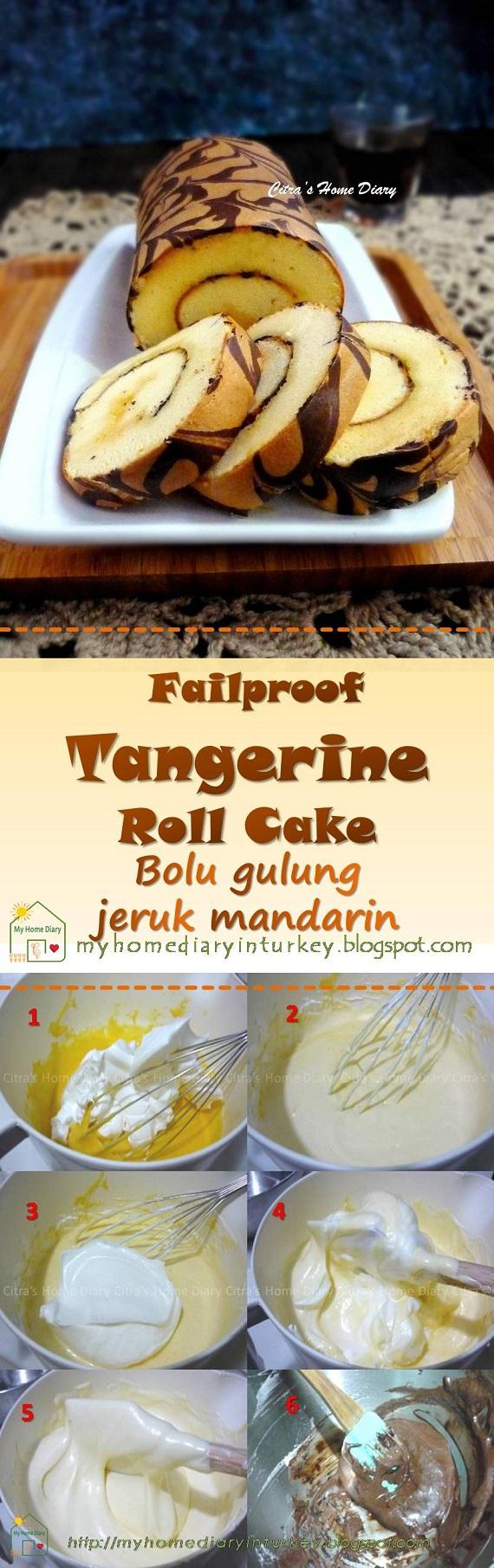 Tangerine orange Roll Cake, easy and failproof / Bolu gulung jeruk mandarin-Çitra's Home Diary. #mandarinorange #tangerineorange #swissrollcake #baking #bolugulung #bolguljeruk #cake #dessert