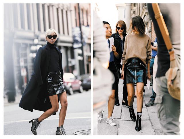 Юбки из лакированной кожи с минималистичной одеждой