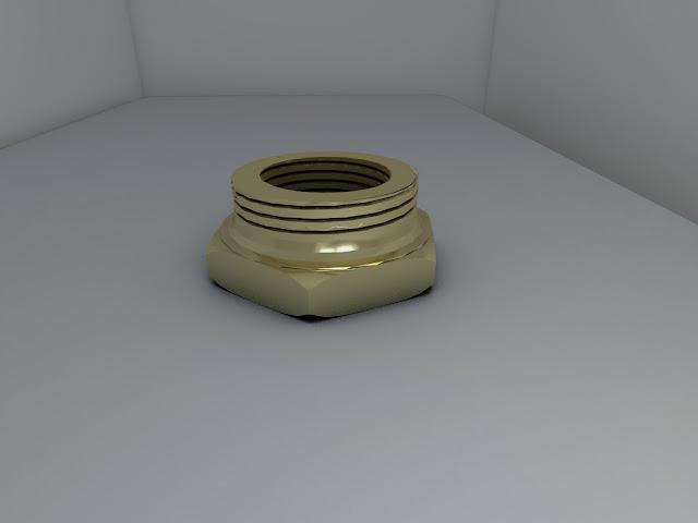 AutoCAD 3D y Render - pieza 5 - Reducción hexagonal 7