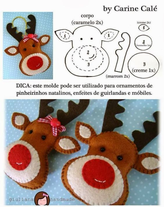 DIY - Decoração de Natal Com Feltro Super Fácil de Fazer Com Moldes 9