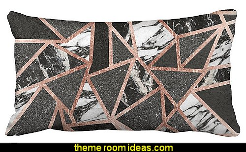 Rose Gold Glitter Marble Geometric Triangle Accent Polyester Pillow