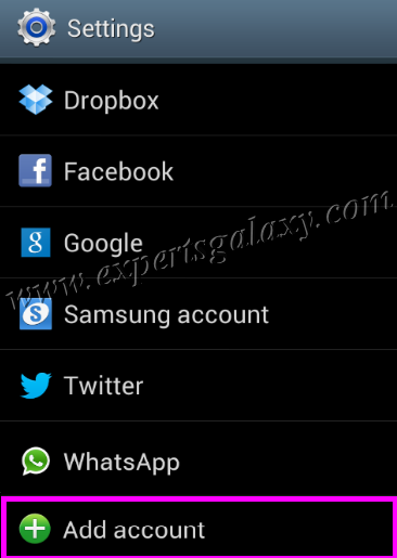 Android Add Account Settings