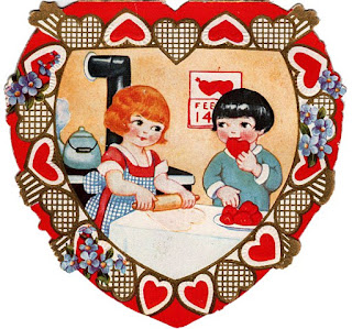 Vintage art of two children making sweets with a heart themed border around the image.