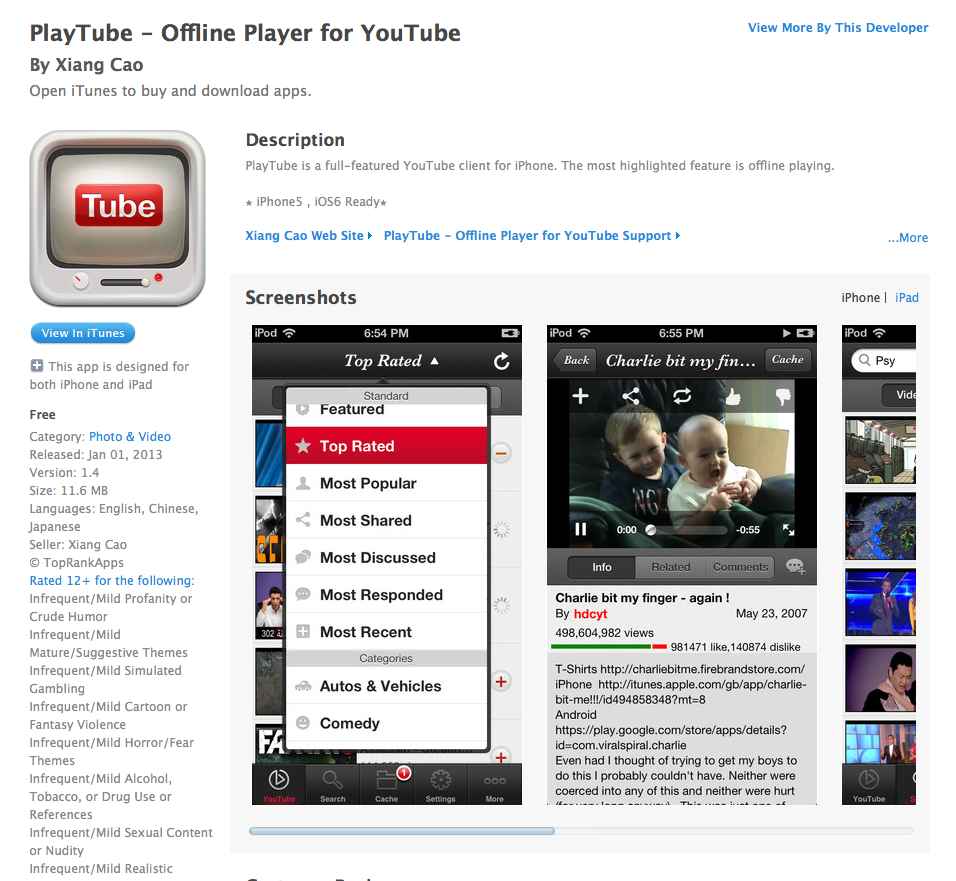 Free iOS App Today - PlayTube - Offline Player for YouTube