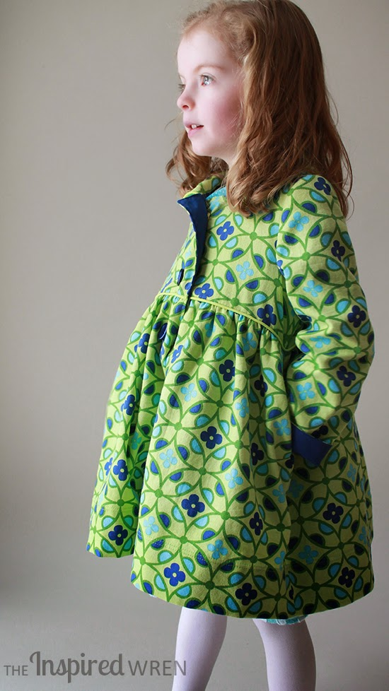 Bright pattern and darling silhouette -- great combo | Penny Vintage Coat Set sewn by The Inspired Wren