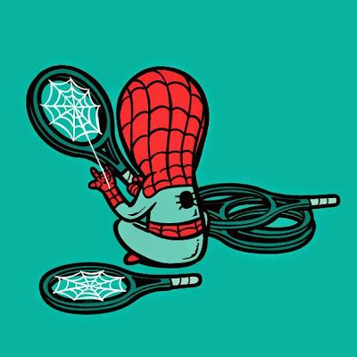 Ilustración caricatura de Sipder-Man haciendo raquetas de tenis.
