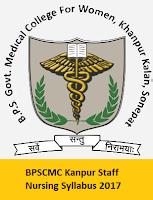 BPSGMC Kanpur Staff Nursing Syllabus