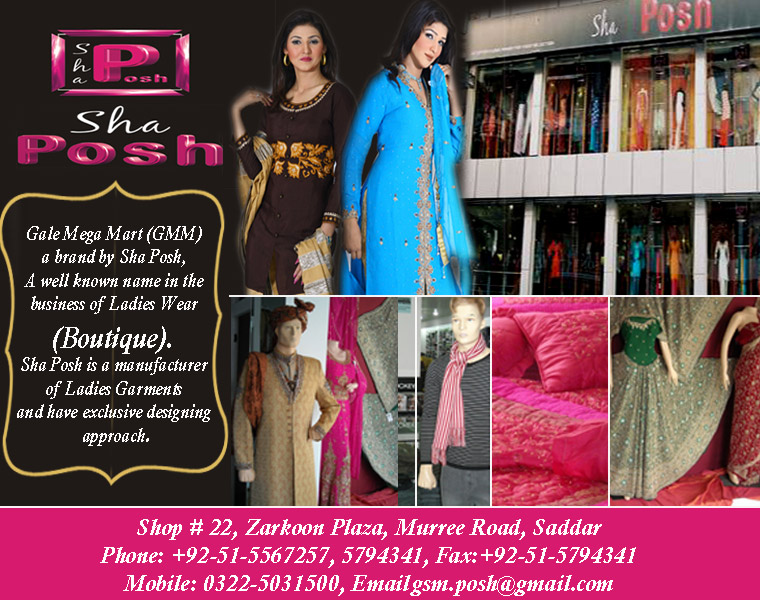 Boutique and Fashion designers Addresses in Pakistan: Sha