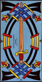 Le cinq d'épée à l'endroit