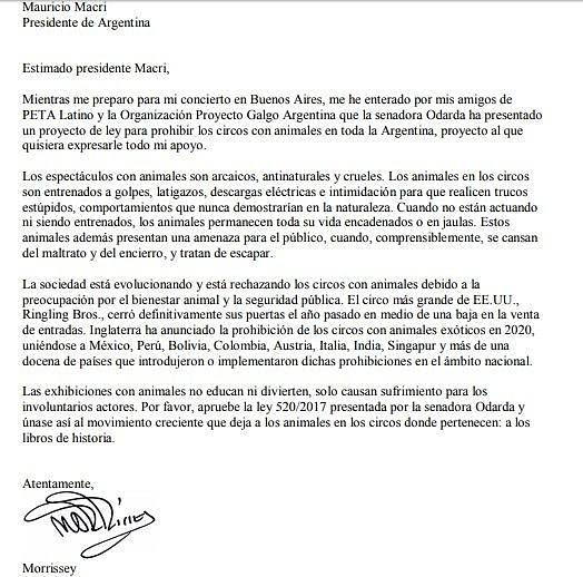 Morrissey le escribió una carta al presidente Macri antes de llegar a la Argentina