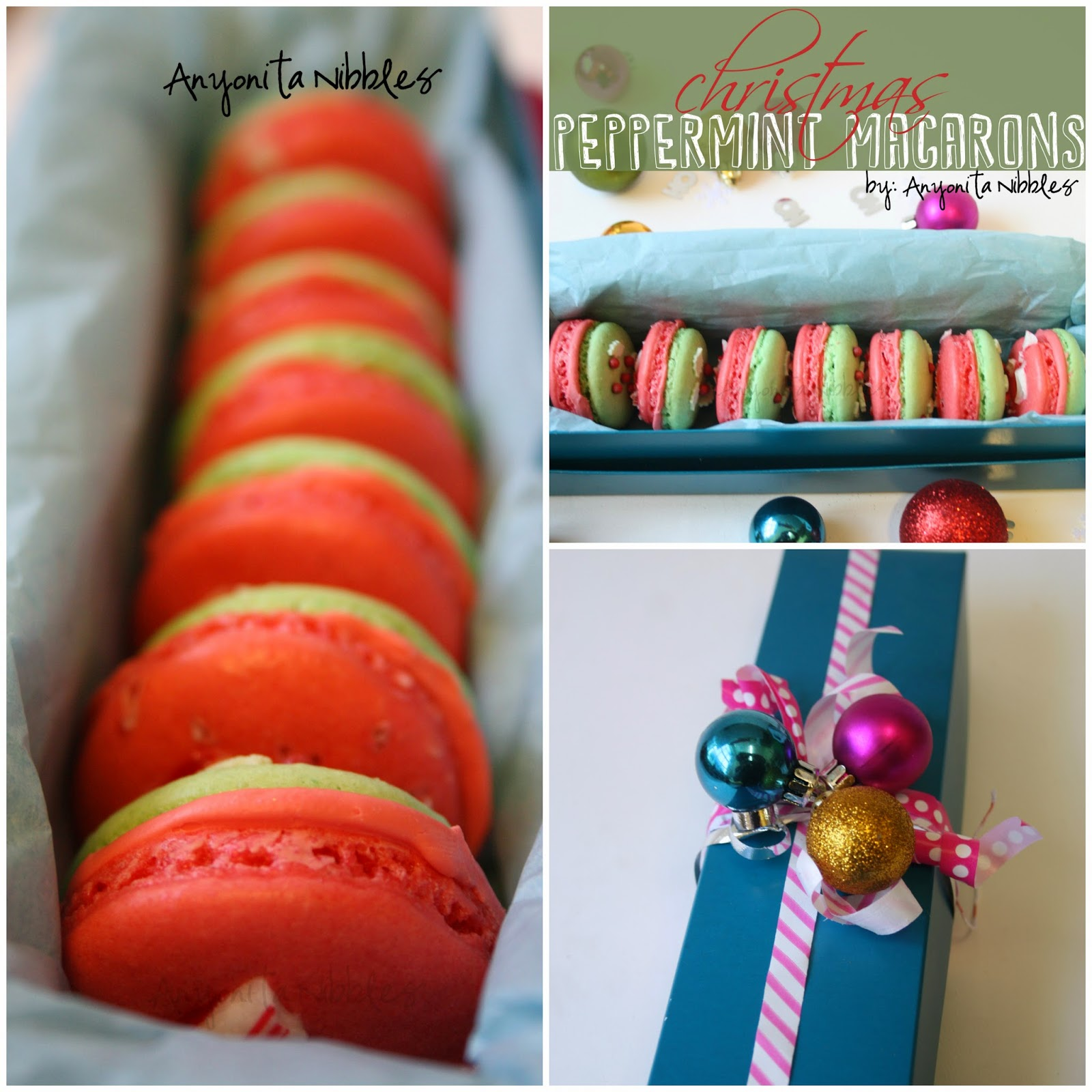 Christmas Peppermint Macarons in Gift Box from Anyonita-nibbles.co.uk