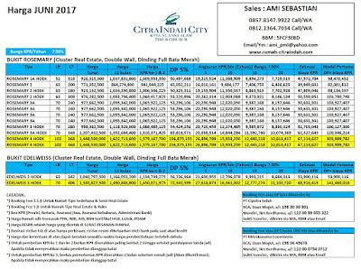 Harga Bukit Rosemary Citra Indah City JUNI 2017