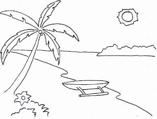 Sketsa Gambar Mewarnai Pemandangan Alam Pantai 8