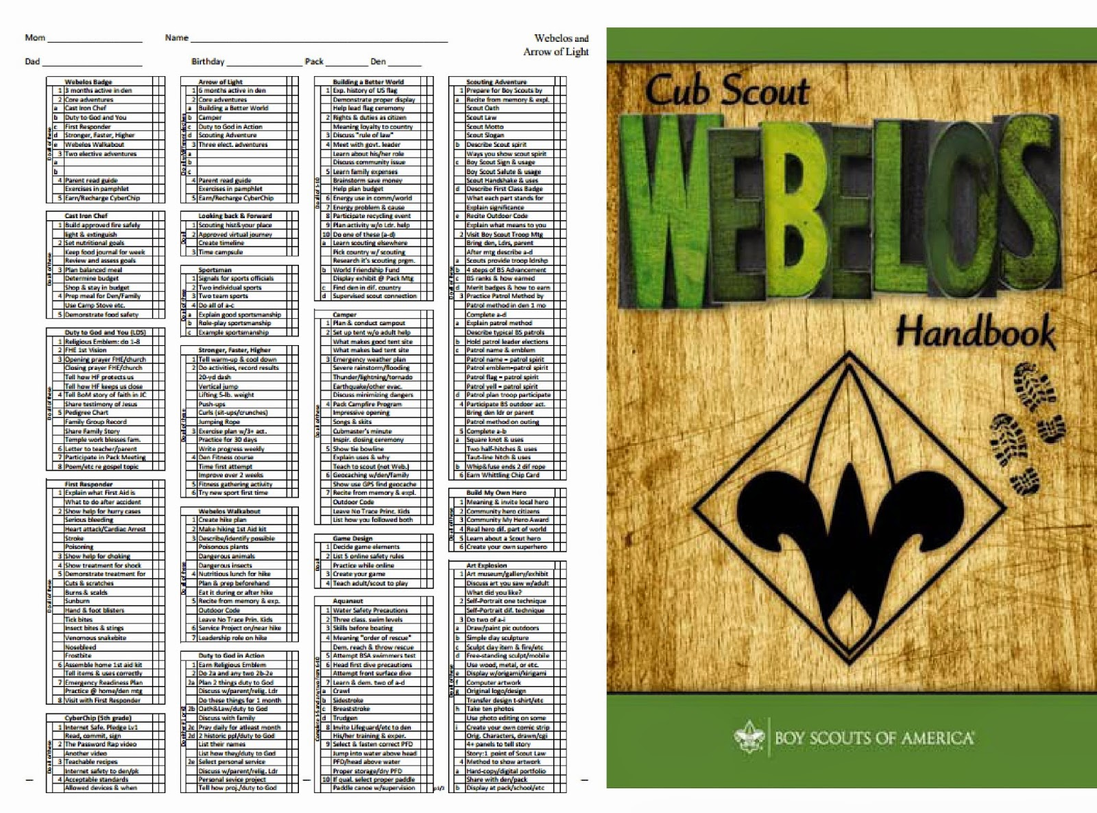 Webelos Arrow Of Light Requirements Checklist Shelly