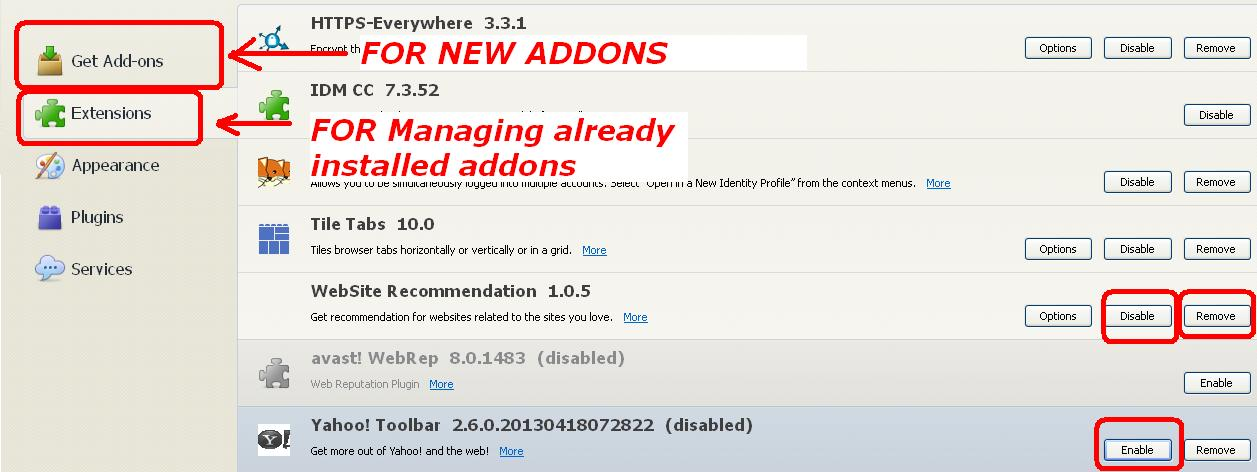 install and remove addon firefox