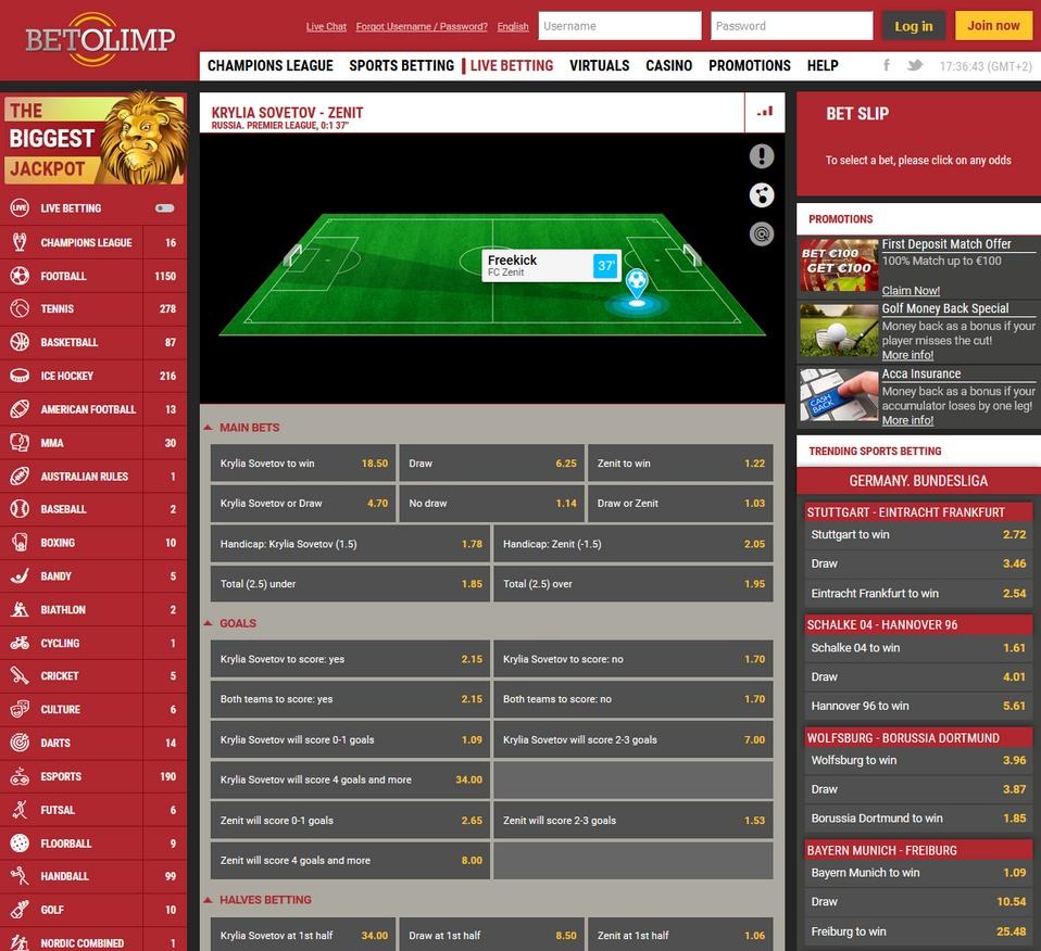 BetOlimp Screen
