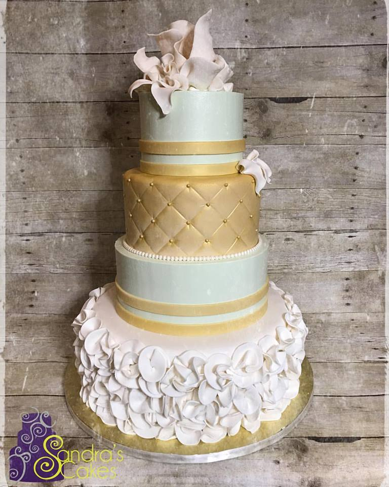 Ivory Mint And Gold Wedding Cake We Absolutely Loved Making This Beauty A Combination Of Fondant Ruffleint Color Ercream Tiers