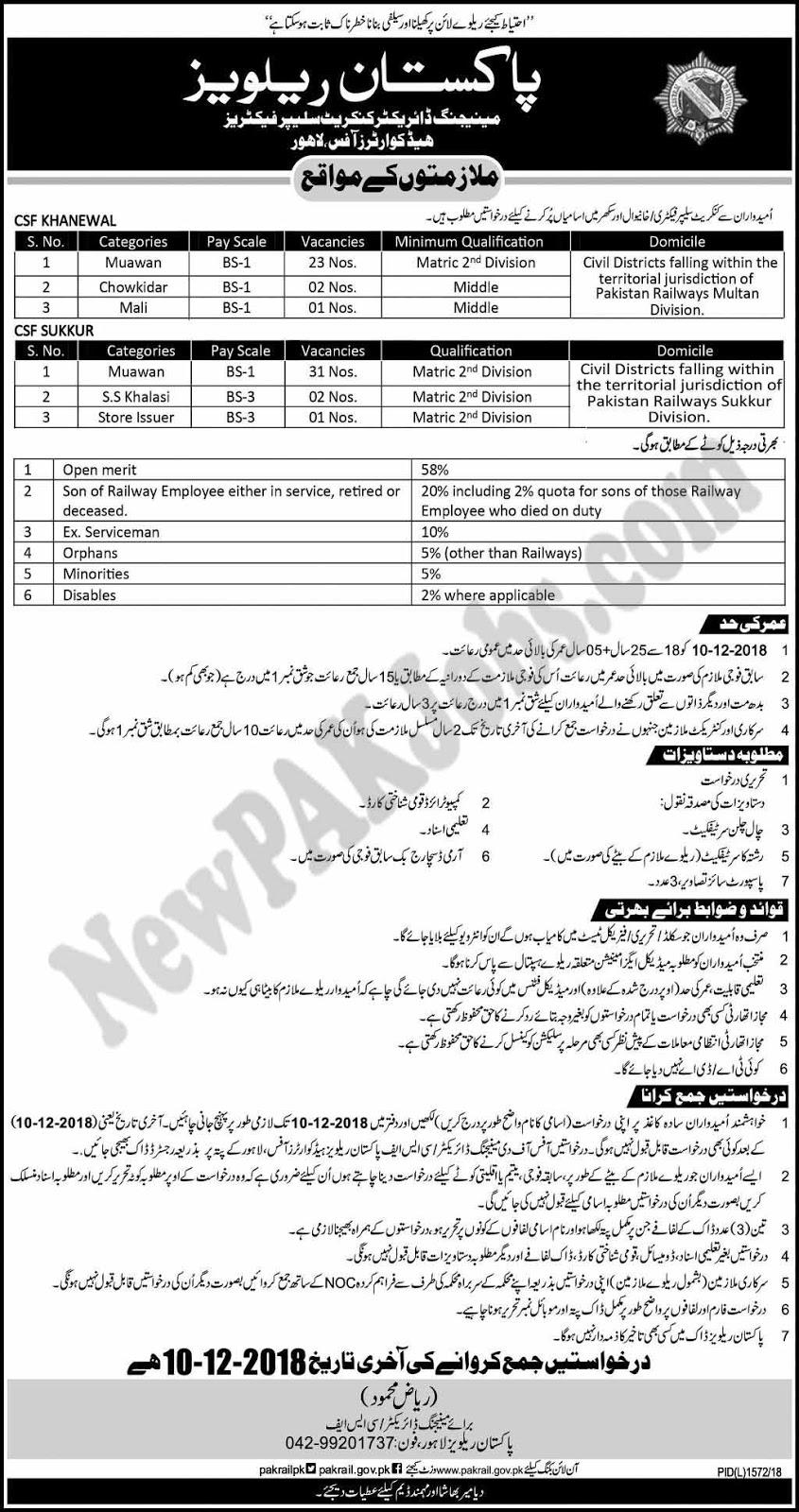 Matric Level Jobs in Pakistan Railways Khanewal, Sukkur- 24 November 2018 Advertisement