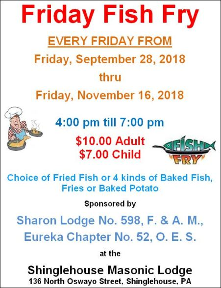 10-19 thru 11-16 Fish Fry in Shinglehouse