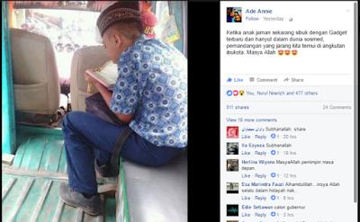 Foto Pelajar Baca Al Quran Dalam Angkot, Jadi Viral di Facebook
