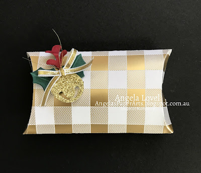 Stampin' Up! Trim Your Stockings pillow box by Angela Lovel, Angela's PaperArts