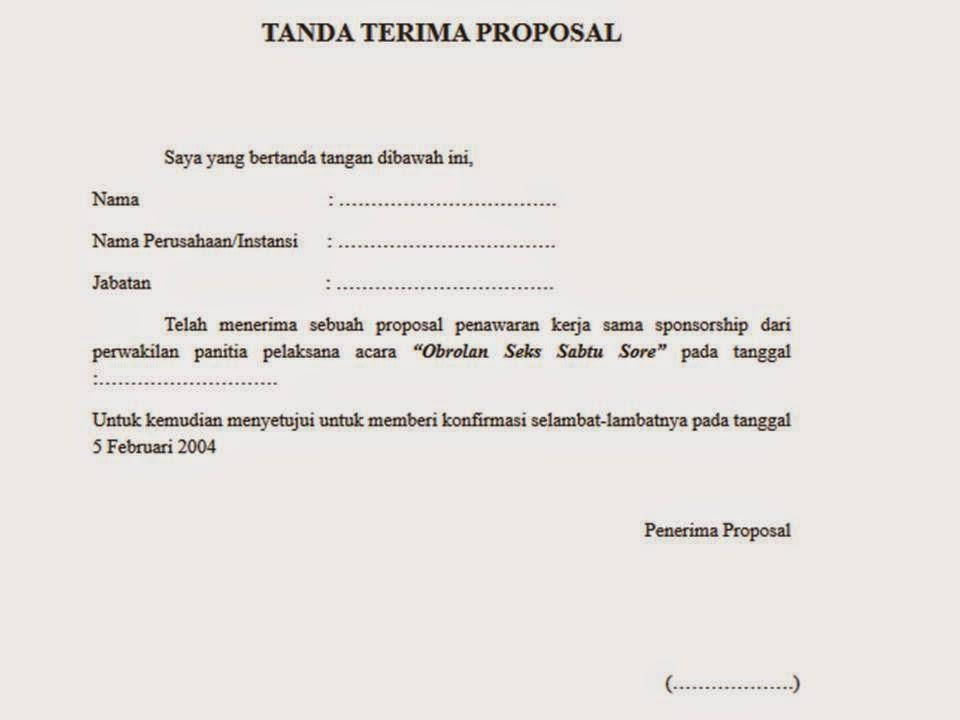 Contoh Tanda Terima Proposal 2019 Oktober 2019 Pendaftaran
