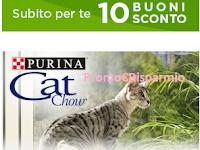 Logo Purina Cat Chow ti regala gratis 10 buoni sconto