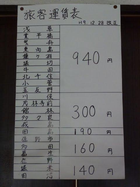 東武佐野線 吉水駅 運賃表 消費税5%時代