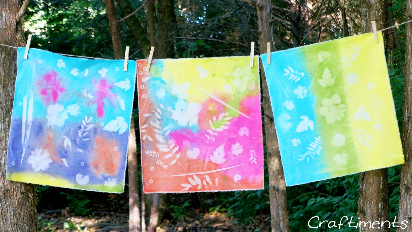 Craftiments:  Tutorial for faux sun prints on fabric using acrylic craft paint