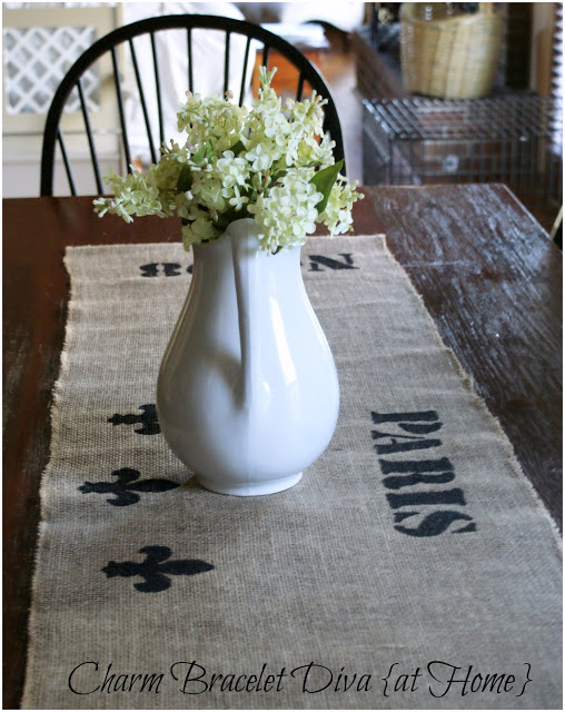 DIY stenciled burlap table runner
