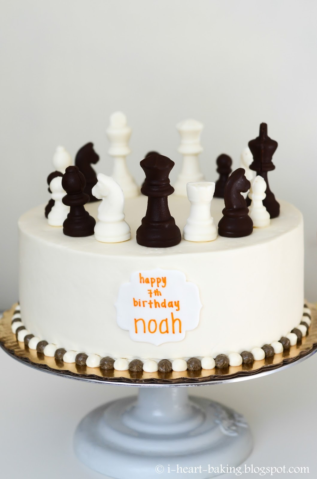 Remarkable I Heart Baking Chess Cake With Handmade Chocolate Chess Pieces Funny Birthday Cards Online Overcheapnameinfo