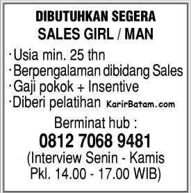 Lowongan Kerja Sales Girl/Boy Kota Batam