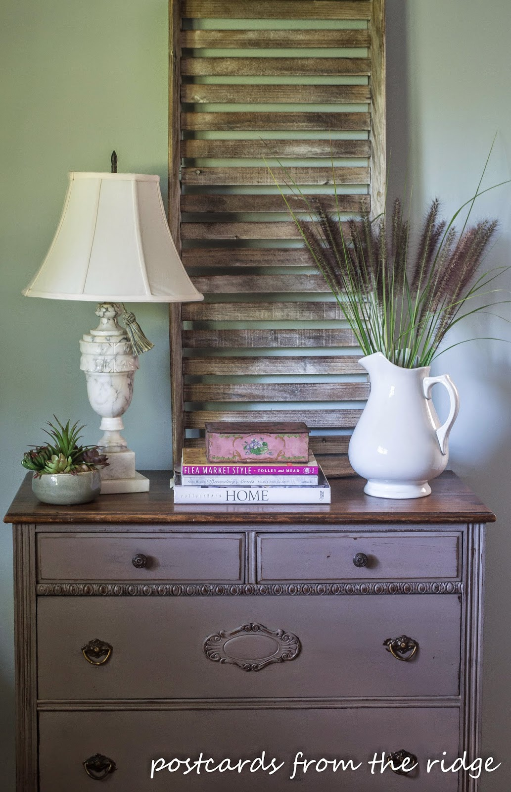 Using vintage ironstone, alabaster, and painted furniture in your decor