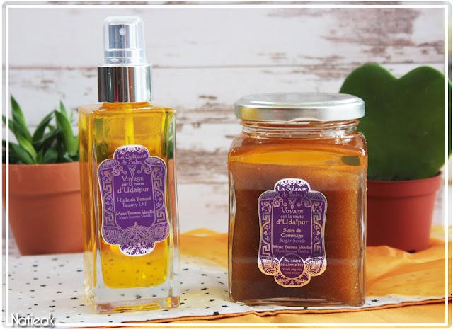 Voyage sur la route d'Udaïpur huile de beauté et sucre de gommage