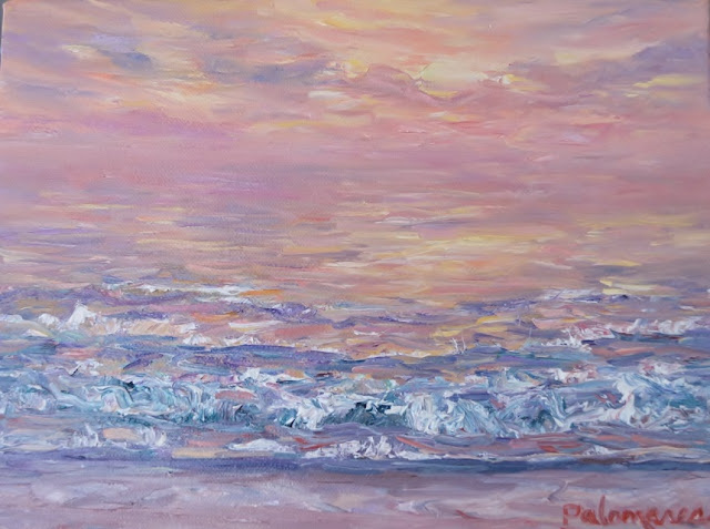 Contemporary Painting of a Beach Sunset
