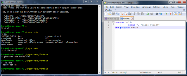 Compiling and executing a FORTRAN application in Cygwin using Notepad++ as an editor.