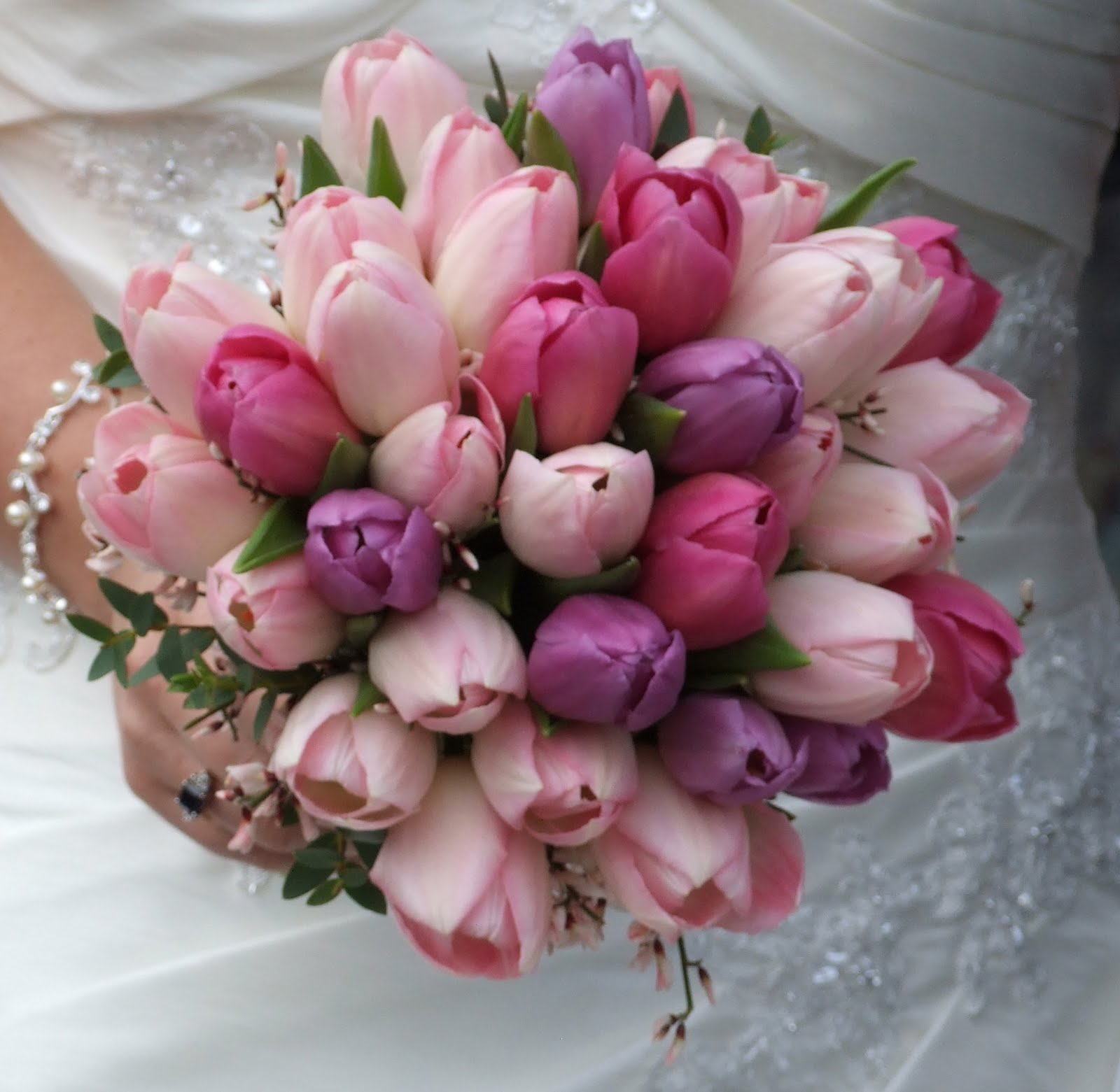 Wedding Bouquet Crystal Flowers: Crystal Flowers: Vibrant Tulip Wedding Bouquet's