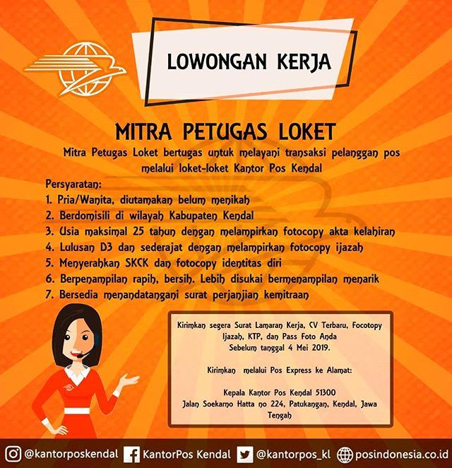 Lowongan Kerja Loker Mitra Petugas Loker Pos Indonesia Kendal Mei 2019