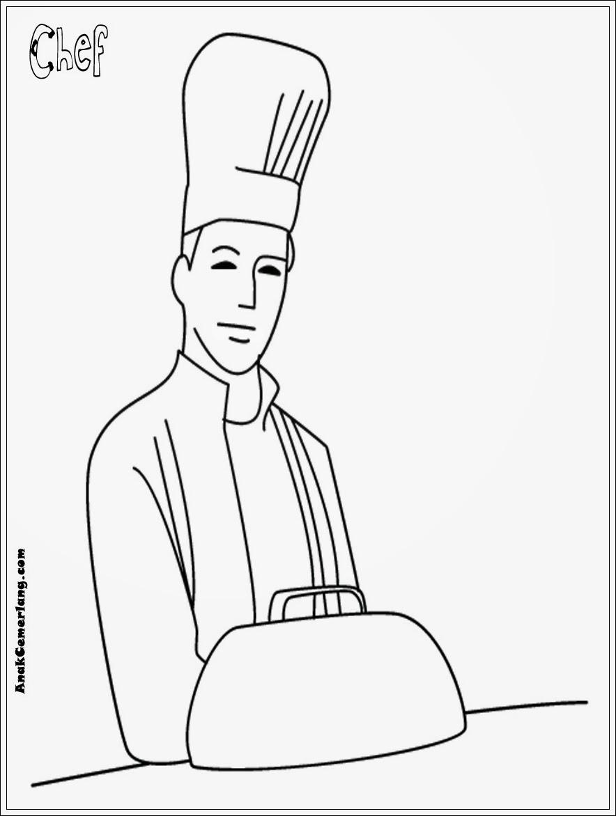 mewarnai gambar profesi chef juru masak