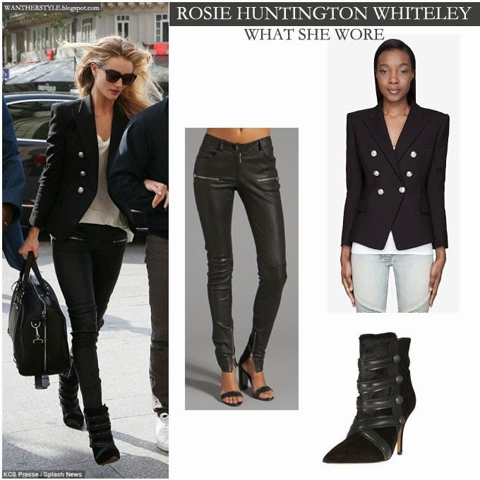 90019a5f66b WHAT SHE WORE  Rosie Huntington-Whiteley in black blazer with black ...
