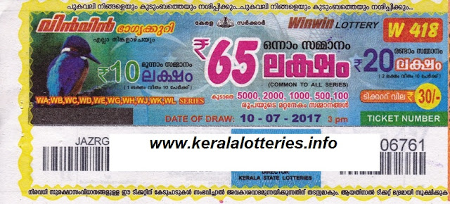 kerala lottery result today win win (w-418) 10 july 2017