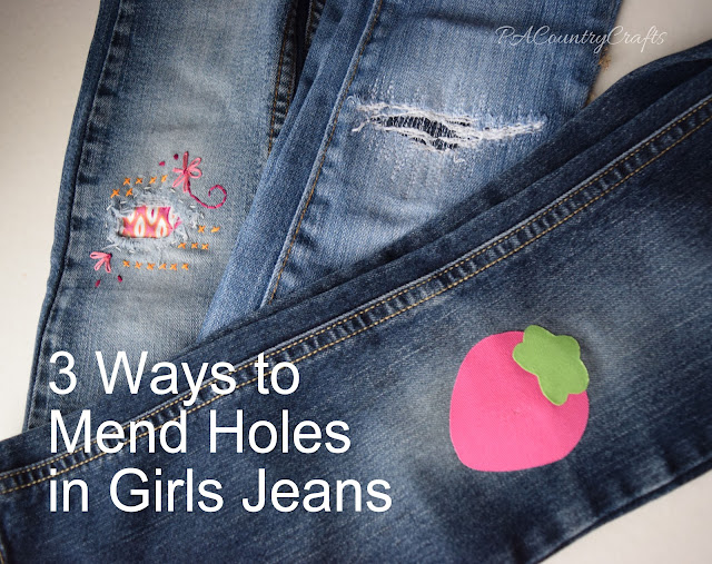 mend holes in jeans 3 different ways pa country crafts. Black Bedroom Furniture Sets. Home Design Ideas